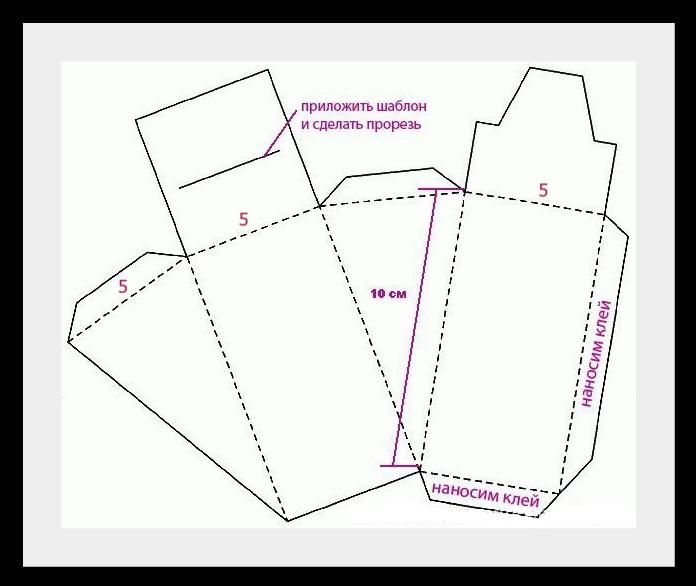 шаблон для торта Упаковки для подарков на Новый год (коробочка №4)