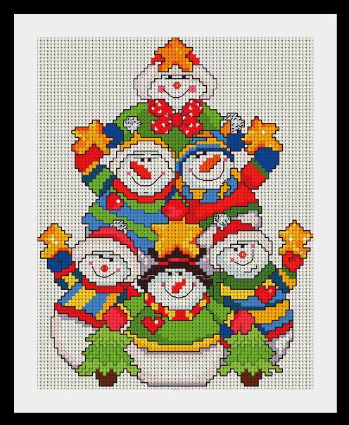 snegovik Схемы для вышивки Снеговиков