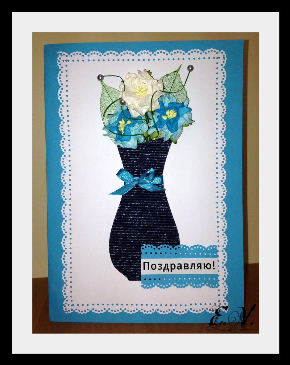 vaza s cvetami Открытка в голубых тонах Ваза с цветами